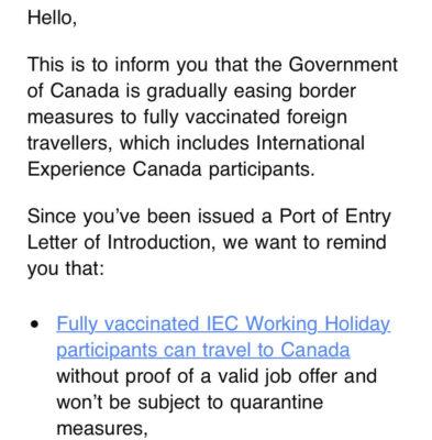 IECからのワーホリジョブオファー不要についてのメール